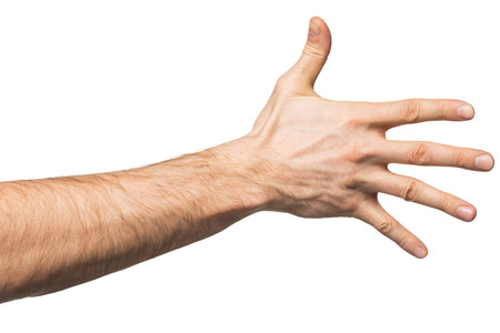 five fingers: Counting gesture, male hand showing five fingers, isolated on white background Stock Photo