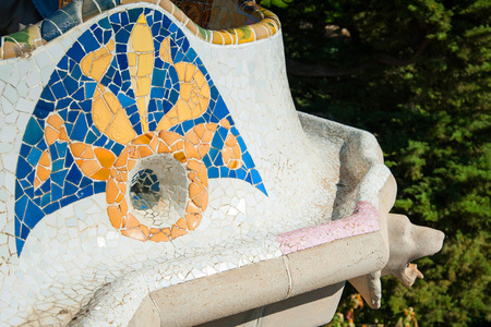 guell: Details of a colorful ceramic bench at Parc Guell designed by Antoni Gaudi, Barcelona, Spain Editorial
