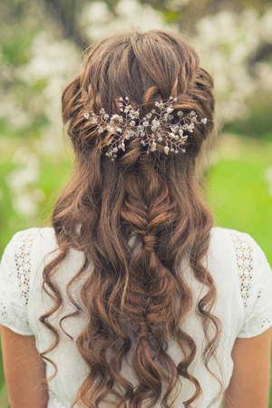 bride: Girl with beautiful  braid hairstyle, rear view