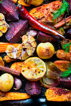 italian village: Roasted vegetables, closeup view