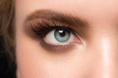 eye to eye: Closeup image of beautiful woman eye with makeup Stock Photo