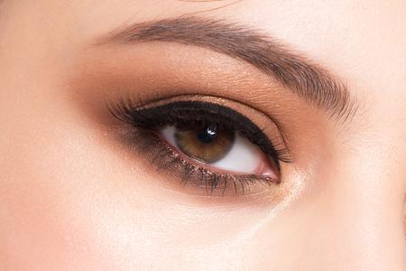 brown eyes: Closeup image of beautiful woman eye with fashion makeup Stock Photo