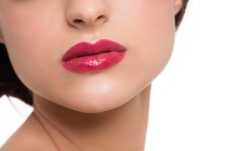 charm temptation: Closeup image of beautiful sexy lips with bright red lipstick