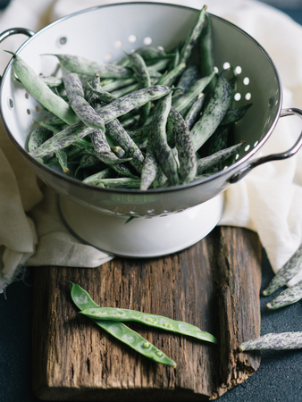 freshly picked: Freshly picked Green Beans in a colander Stock Photo