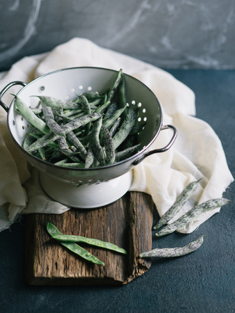 colander: Freshly picked Green Beans in a colander Stock Photo