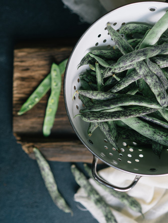 picked: Freshly picked Green Beans in a colander Stock Photo