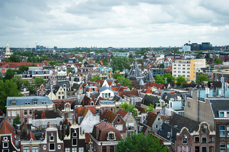 tile background: Amsterdam Old city top view, Netherlands Stock Photo