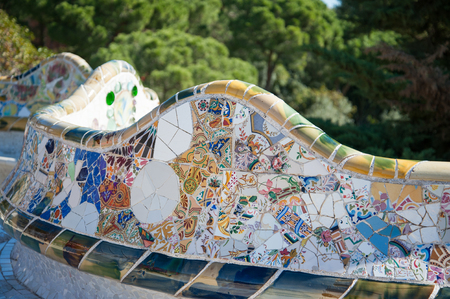 Colorful mosaic walls of Parc Guell in Barcelona, Spain