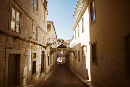 Beautiful old street, the view of historic district in Lisbon, Portugal Stock Photo
