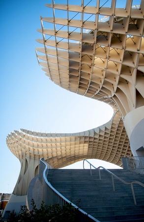 SEVILLA,SPAIN - SEPTEMBER 2016 : Metropol Parasol in Plaza de la Encarnacion on September, 30, 2016 in Sevilla, Spain. J. Mayer H. architects, it is made from bonded timber with a polyurethane coating