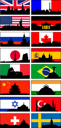 Great Britain, France, USA, United Kingdom, France, USA, Germany, Russia, Canada, Japan, Spain, Israel, Turkey. 16 pc vector icons x 3 option (flag, flag & silhouette, silhouette). Frame can be removed. Eazy to modify. Resize at any size, EPS10