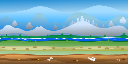 Game forest background Vector seamless. Forest scene with hills and sky, 100% vector. Resize to any size. Easy color change. Standard-Bild - 126103527