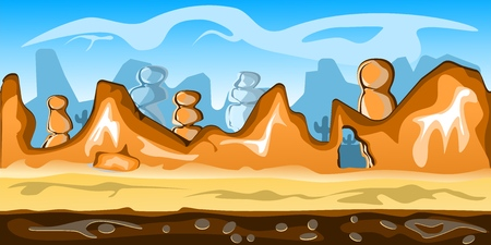 Game desert background Vector seamless. Desert scene with sand, hills and rocks, 100% vector. Resize to any size. Easy color change.
