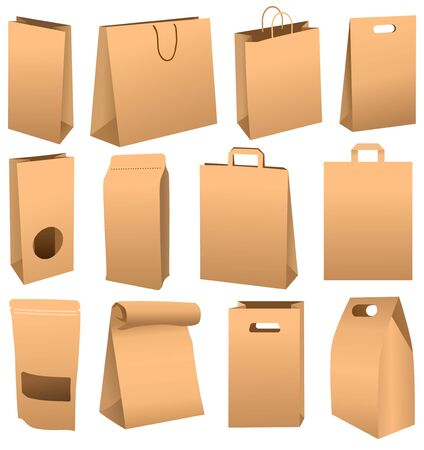Brown paper bag set isolated on white background Stockfoto - 128606153