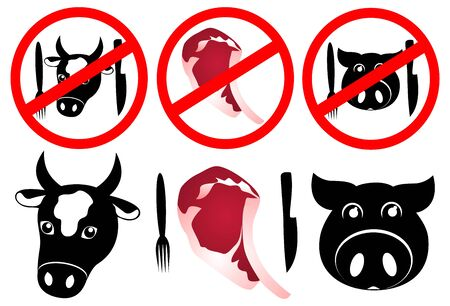Meat Ban Icon Set. Without Meat. Illustration for any design.