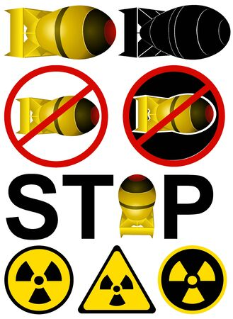 World Day Against Nuclear Tests. Set of vector illustrations