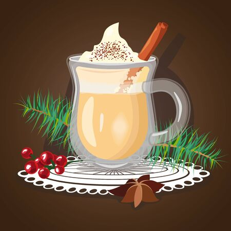 Glasses of eggnog with cinnamon sticks. Hot cocktail with creamy foam, pine leaves and berries Illustration