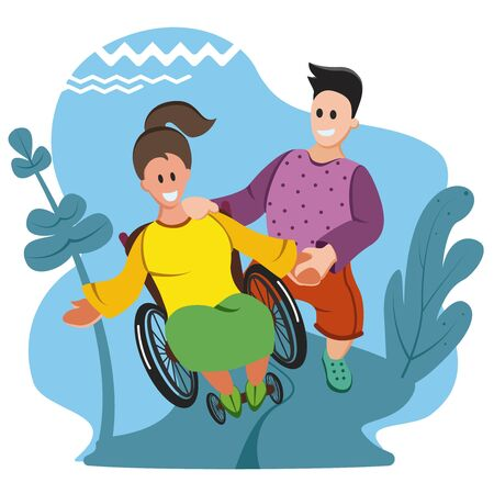 Young Disabled Woman Sitting in Wheelchair, a Young Man Helps Her. Invalid Cartoon Flat Vector Illustration Illustration