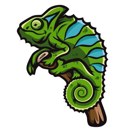Green smiling chameleon is sitting on branch. Creative chameleon   icon design.  イラスト・ベクター素材