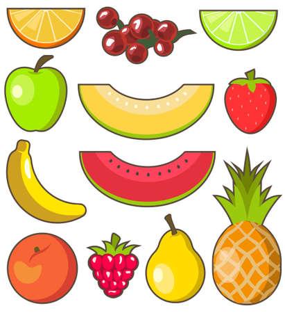 Flat design fresh and juicy fruits on white background