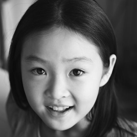 black and white portrait of an eight-year old asian girl Stock Photo - 6106578