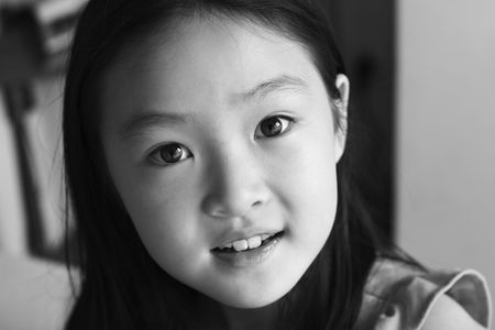 black and white portrait of an eight-year old asian girl Stock Photo - 6128849