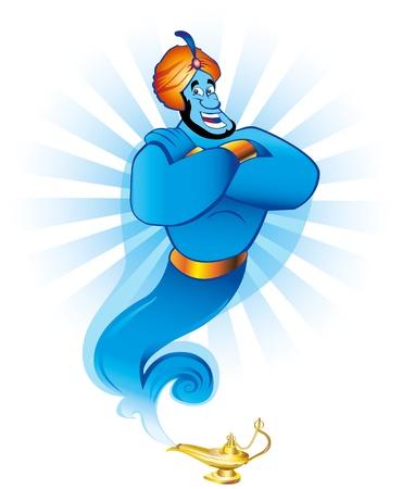 lampada magica: Illustrazione di un Jinn amichevole o di genio che esce da una magica lampada di olio d'oro come quello della storia Aladdin