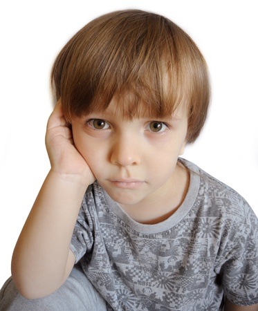 suffer: Portrait of an upset little boy