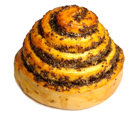 Bun with poppy seeds on a white background Stock Photo - 18610167