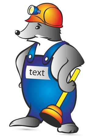 sewage system: Cartoon Character Mole Isolated on White Background  Vector  Illustration of the amusing mole woker  Illustration