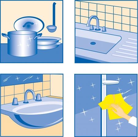 House Cleaning icons Keuken gerelateerd Objecten Vector Illustratie