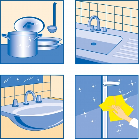 House Cleaning icons Kitchen related Objects  Vector