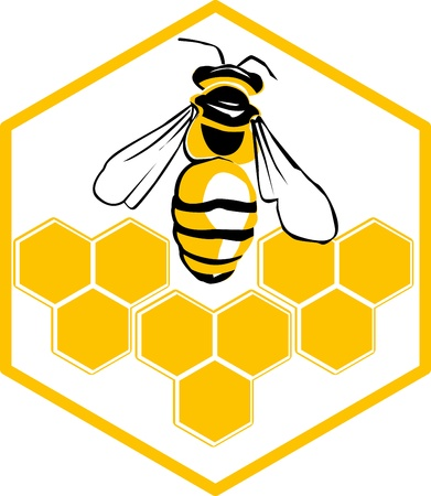 bee pollen: Vector bee and honeycombs  logotype  vector illustration of bee  icon  Illustration