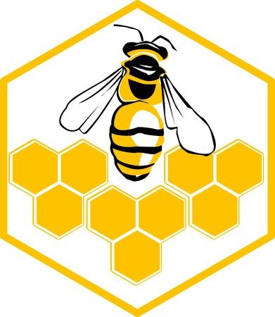 abejas panal: Vector de abejas y panales logotipo ilustración vectorial de abeja icono Vectores