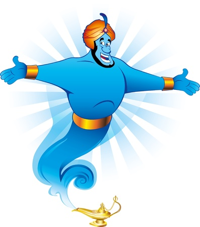 Illustration of Magic Genie Appear from Magic Lamp. Vector