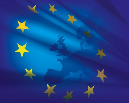 Europe map and flag - beautiful abstract blue collage background