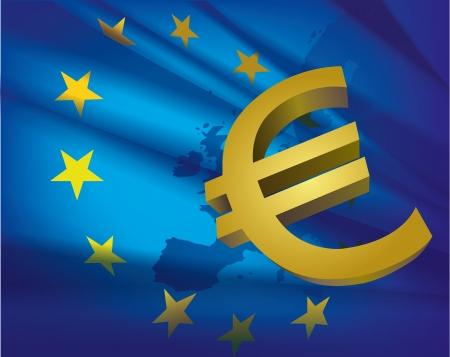 Európa térkép és zászló és az euró - szép absztrakt kék háttér kollázs Illusztráció