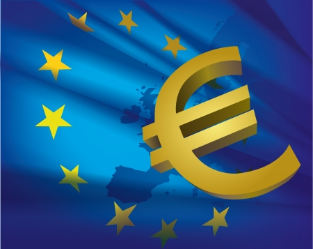 european money: Europe map and flag and euro - beautiful abstract blue collage background  Illustration