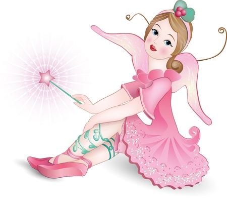 girl magic wand: Vector illustration of a Beautiful winged Fairy with magic wand  Illustration
