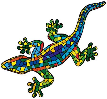 salamandra: Hermoso lagarto de colores aislados sobre fondo blanco, estilizado de Mozaic