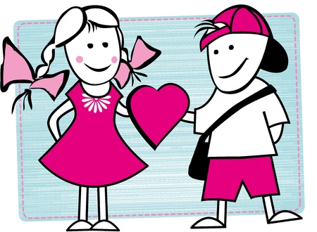 Photo of two good friends  Illustration of boy and girl give heart