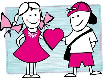 Foto van twee goede vrienden Illustratie van jongen en meisje geven hart Stock Illustratie