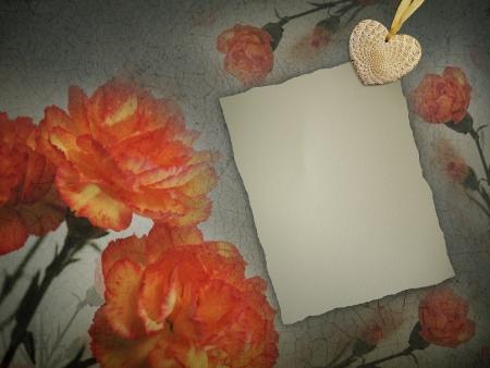 Grunge postcard background with orange flowers carnations.