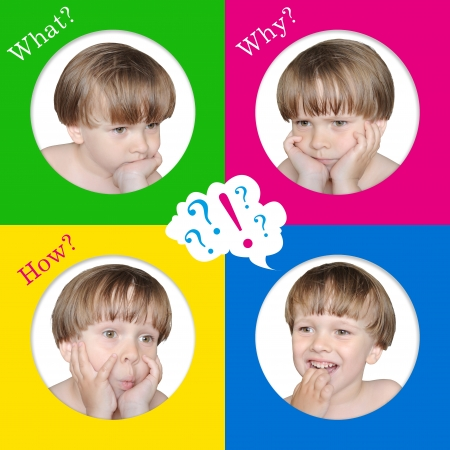 4 emotions of a child  So many questions in children  Stock Photo - 21438917