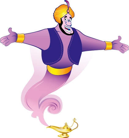 jinn: Magic genie granting the wish Illustration