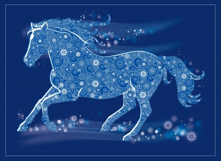 year of horse: Vector Illustration of a running horse