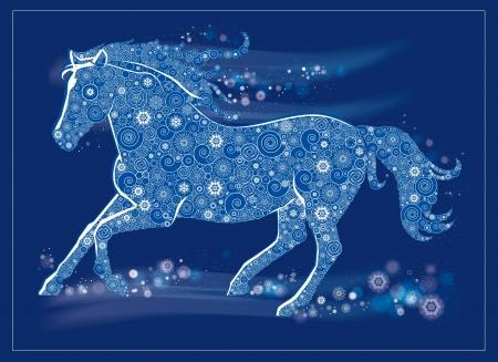 Vektoros illusztráció egy futó ló Illusztráció