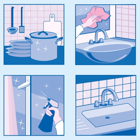 domestic kitchen: A set of vector illustrations of House Cleaning in blue colors