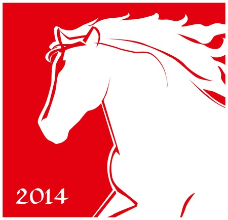 Horse head icon  Running Horse on the red background  Merry Christmas and Happy new year  Greeting card  Illustration