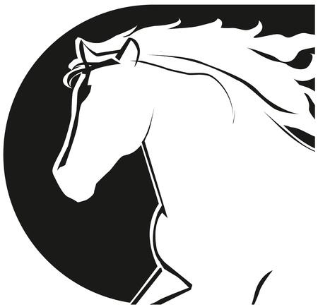 A stilizált egy fekete ló Lófej icon Illusztráció